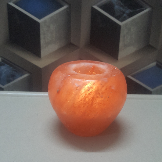 himalayan apple candle holder with light