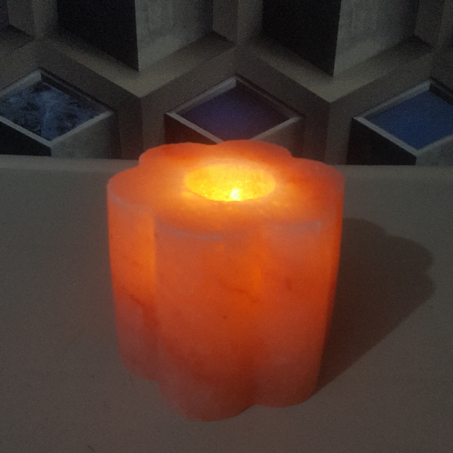 himalayan designed candle holder with light